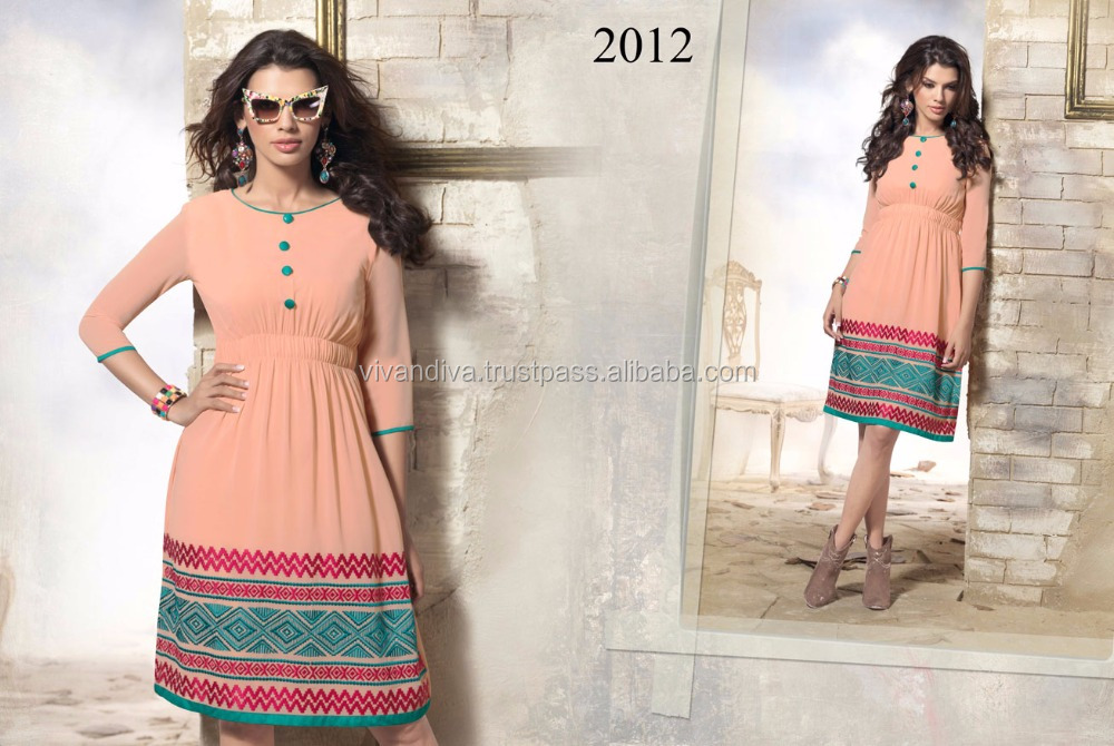 New Bollywood Style Designer Peach Georgette kurti