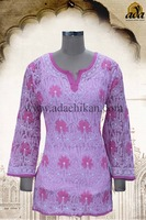 GEORGETTE TOP HAND EMBROIDERED LUCKNOWI CHIKANKARI A60864 BY ADA
