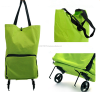 2015 New design Japanese style foldable shopping bag with two wheel