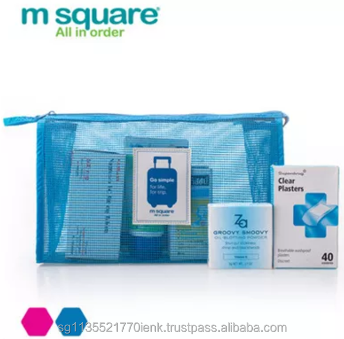 M Square Go Simple Series Travel Mesh Cosmetic Pouch, 2 sizes, 1-3 person's toiletries