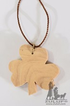 Lucky Shamrock Charm Pendant Necklace Hand Made Olive Wood - Holy Land (OW-PEN-008)