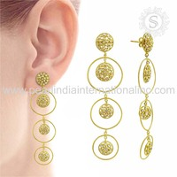 Bewitching 925 Sterling Silver Jewelry Gold Plated Earring White CZ Stone