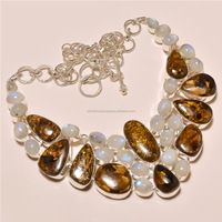 bronzite with rainbow moonstone 925 silver necklace jewelry for women