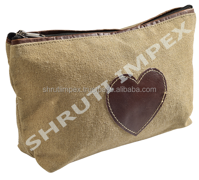 100 % Cotton Canvas Case With Zipper Leather Small Vintage Pouch