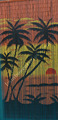 Ready to use natural painted bamboo curtain for door tropical sunset palm tree