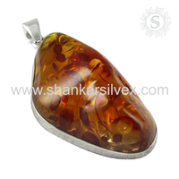 Popular Amber Pendant Handmade 925 Sterling Silver Pendant Offers Wholesaler Silver Jewelry India