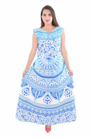 Indian Blue Trishul Ombre Cotton Mandala Long Beach Frill Handmade Printed 100% Cotton Dress