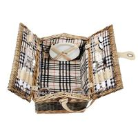 Plaid wicker picnic basket for two people