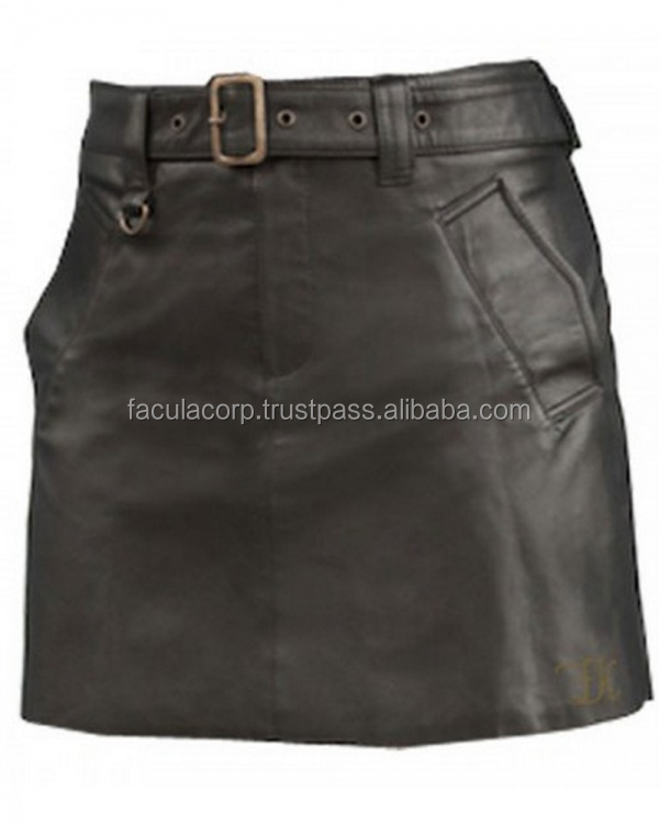 Goth Genuine Leather Black Leather Fashion Kilts Hipster Mini Skirt FC-14509