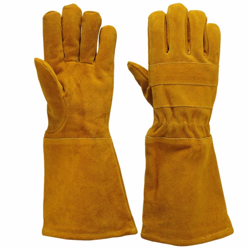 11 Inch Green Long Leather Gloves for Welding Safty