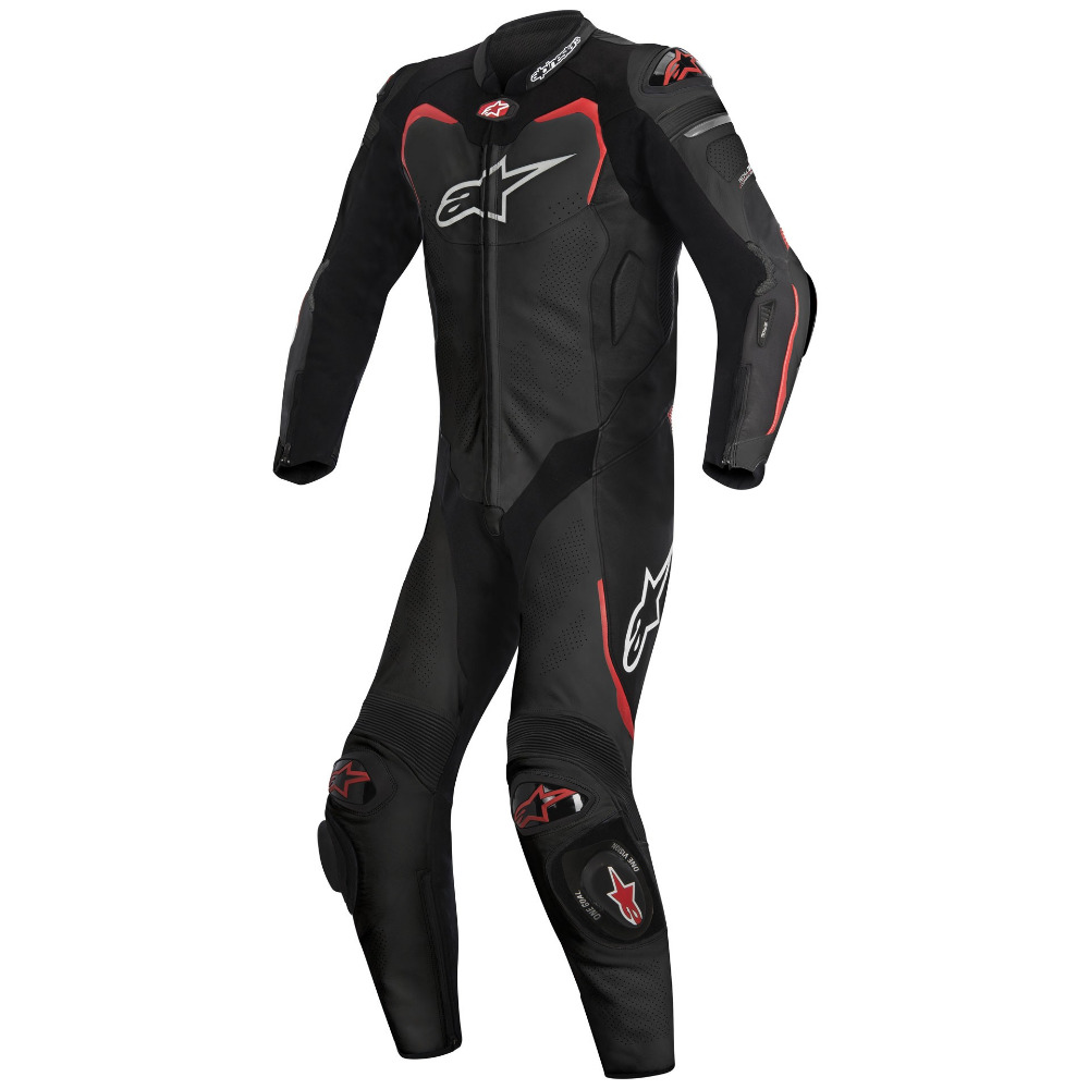 Pro Leather Motorcycle Suit For Tech Air Race Black Red