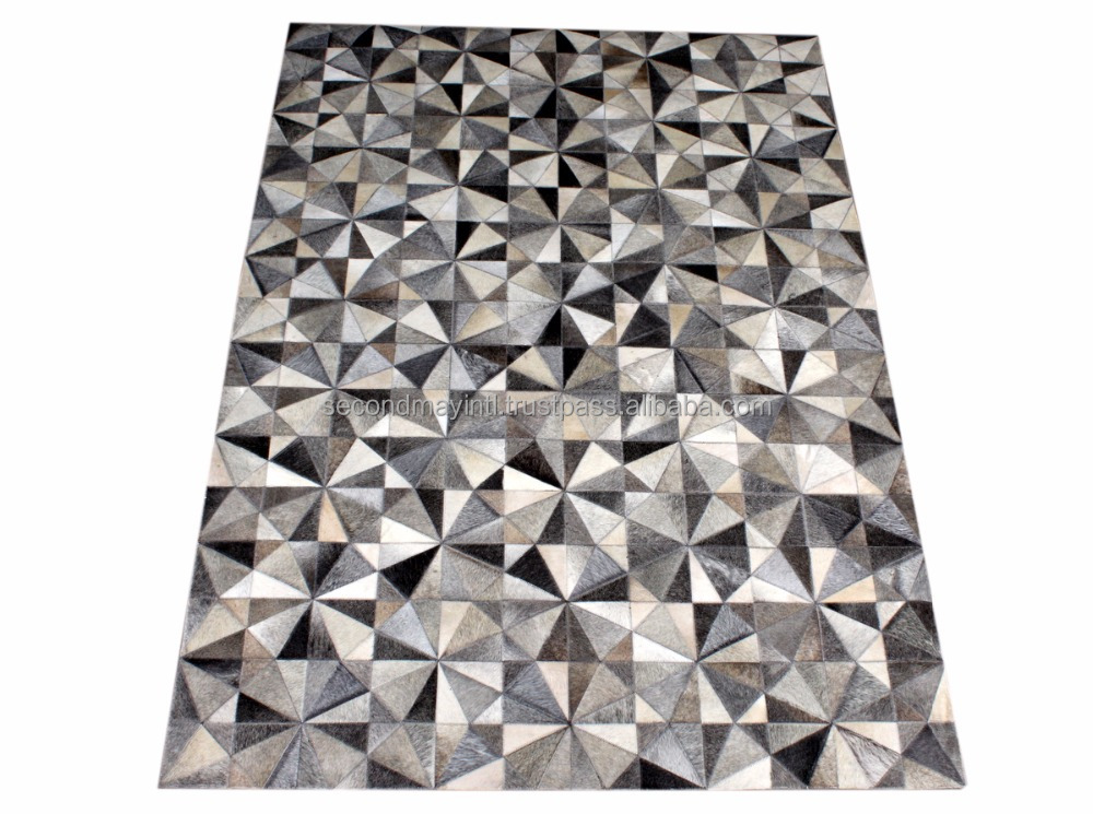 Cowhide Patchwork Animal Skin Carpets - Hairon Leather Carpet, Natural Cowskin Leather Carpet 7.3 X 5 Feet, 36.5 Sq. Ft.