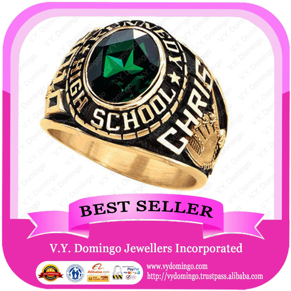 24kt Electroplated College Ring Custom Made Wholesale Class Ring