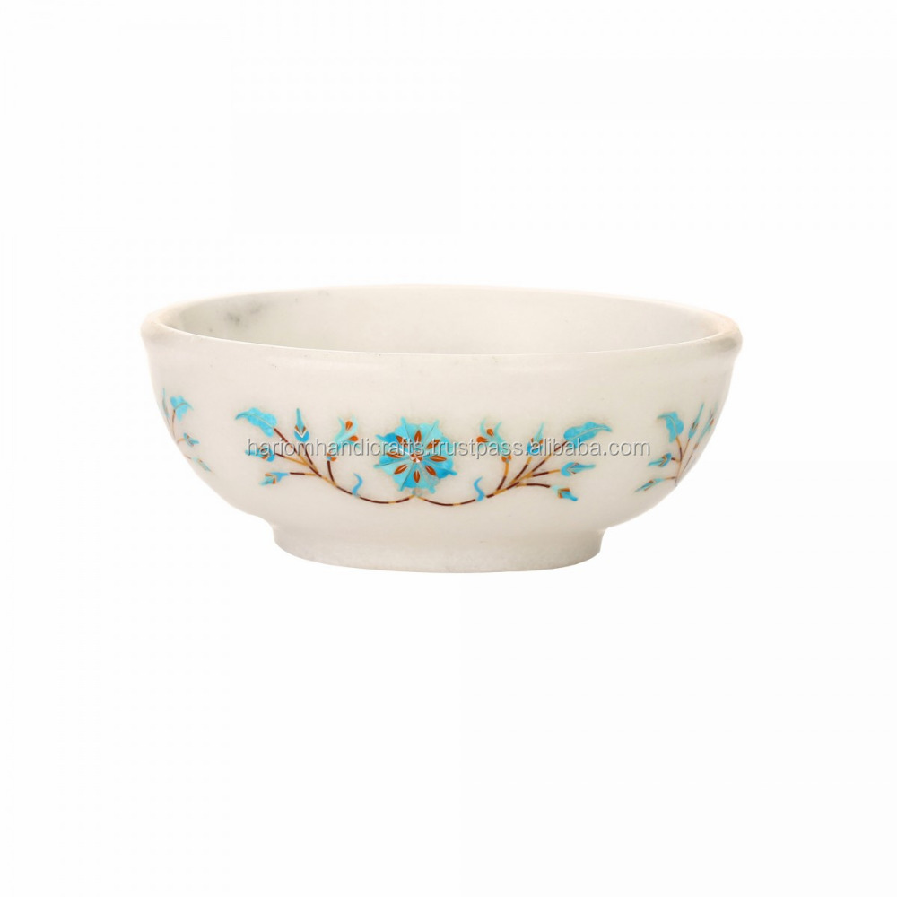 White Marble Serving Fruit Bowl Turquoise Mosaic Floral Art Kitchen Decoration Item Gifts H3635