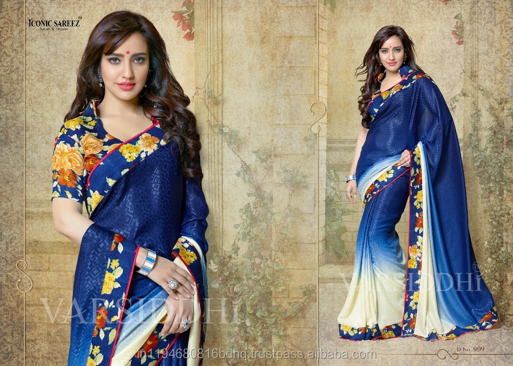 Saree With Fancy Blouse Pure Georgette Printed Party Wear Designer Saree Sari