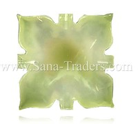 Natural Marble Onyx Designed Marble Butterfly Tray (Square) Green