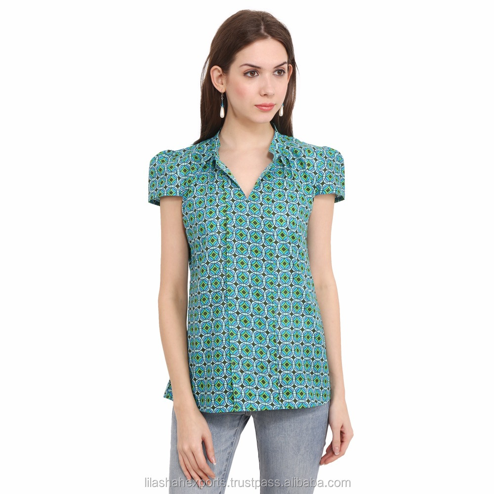 WHOLESALE - Blooming C.Green Top Online Blouse Cap Sleeve Gathered cheapest price in bulk Supplier Wholesale Green Solid Women