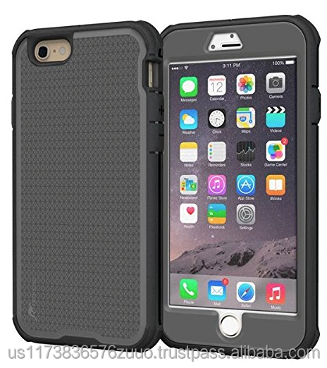 Rugged Armor Full Body Tough hybrid dual layer case for iPhone 6 6s Plus 5.5 Drop protection impact-resistance roocase (gray)