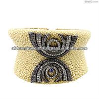 Stingray Skin Cuff Bracelet 925 Sterling Silver Pave Diamond Blue Sapphire Gift Design Broad Jewelry