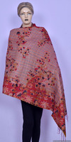 Indian Ethnic Hand Woven Knitted Reversible Lady Shawl Embroidered Work Multi Colored Shawls