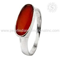 Simple Design Indian Silver Jewelry Carnelian Ring Gemstone Silver Jewellery India