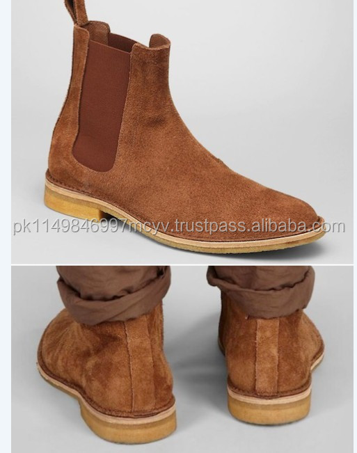 Chelsea Boots / Handmade men Tan color Chelsea brown suede leather boots Men suede leather boot