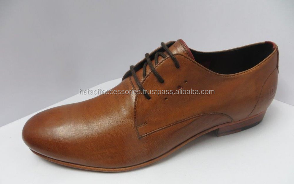 Formal Tan Genuine men's Leather Shoe With Leather Sole