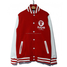 New style customized high quality casual cotton fleece cheap plain fitness mix size varsity jacket wholesale