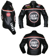 LUCKY STRIKE Black Real Leather Motorcycle Motorbike Racing Jacket,COWHIDE,CE