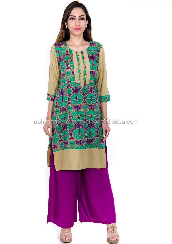 100% Viscose made designer woman Kurtis in Whole prices with beautiful colors Manufacturer