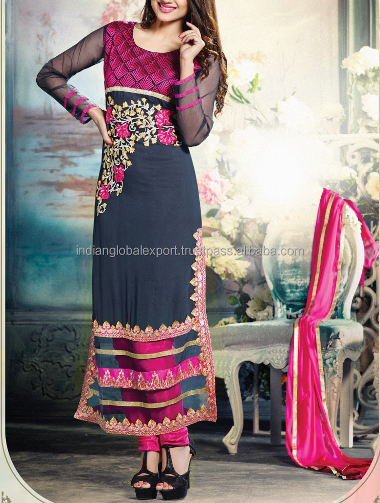 Fashion Latest New Design Grey With Pink Salwar Suit for women