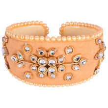 peach color lateset pearlond and kundan work over velvet flexibale bracelet