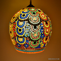 Hanging Lantern Mosaic Hanging Lamp Chandelier Pumpkin Shaped Mosaic Art Hanging Lamp