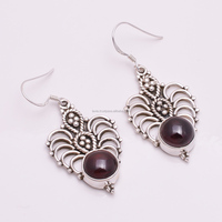 Solid 925 Silver Earrings Garnet Gemstone