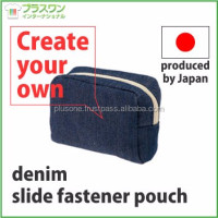 Stylish and Original cosmetic case denim slide fastener pouch with gusset