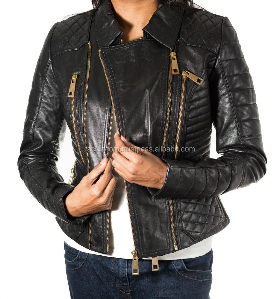 Ladies Black Diamond Quilted New Leather Biker Jacket with Fashionable Gold Zips FC-7801