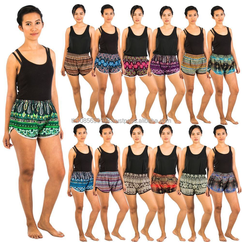 New Womens Ladies Printed Pattern Boxer Shorts Loose Fit ElasticWaist