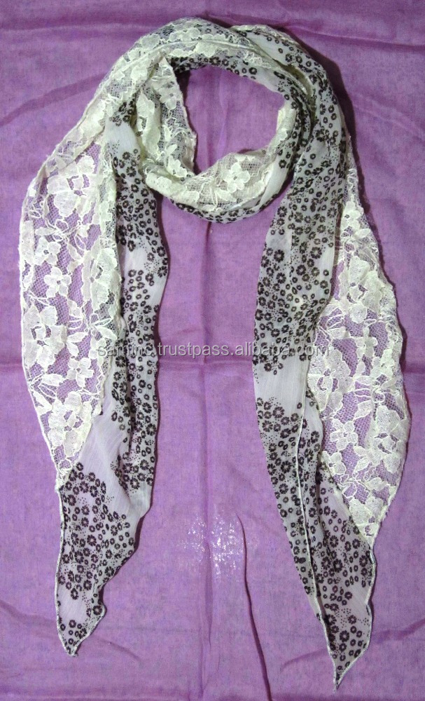 Viscose Chiffon With Net Neck Scarf
