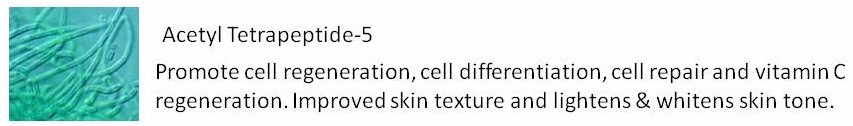 Acetyl Tetrapeptide-5 Promote cell regeneration, cell differentiation, cell repair and vitamin C regeneration. Improved skin texture and lightens & whitens skin tone..jpg