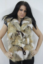 Coyote Fur Vest Hooded Belt