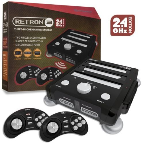 Brand New Retron 3 Gaming Console 2.4 GHz Edition (Onyx Black) SNES- Genesis-NES Vr2 TRI