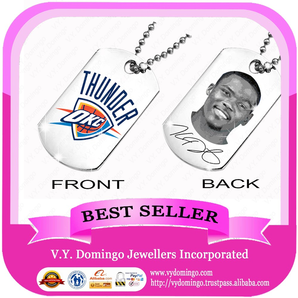 Basketball player dog tag pendant THUNDER team chains hot sale