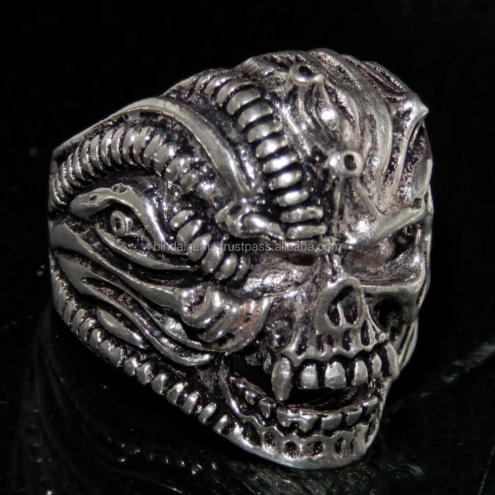 925 Sterling Silver Skull Head Plain Casting Ring BG-0007-PR