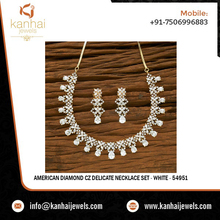 American Diamond CZ Delicate Necklace Set - White