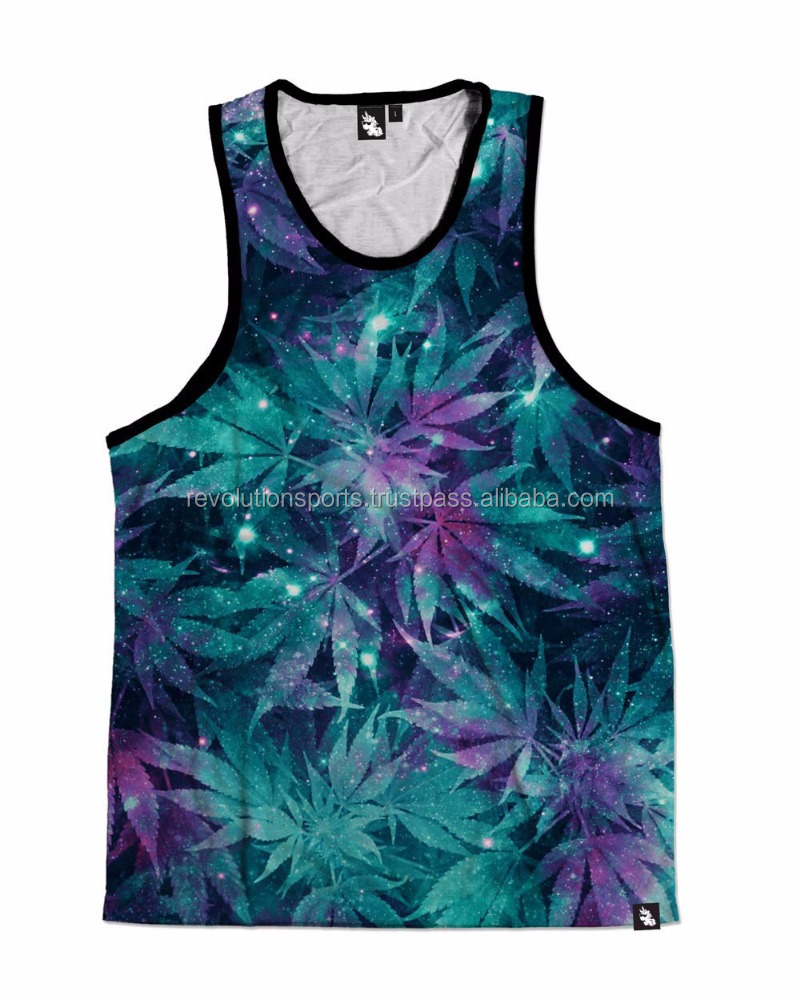 "2017 New Designed tank tops for men ""Weed Glaxay"" customized fashion apparel hot seller"