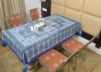 Indian Cotton Table Cloth Hand Block Blue Multicolor Printed Dinning Table Cloth Vintage Wall Hanging Throw Bed Sheet Cover TC36