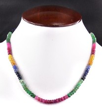"18 "" Long 1 Strand Multi Tourmaline 3 - 4 mm perles de pierres précieuses collier"