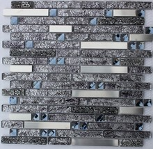 """ BLACK DIAMOND "" glass mosaic tile stainless steel backsplash tiles"