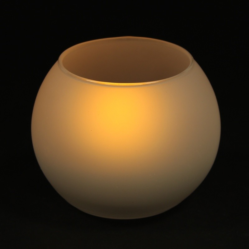 Ball type tea light, flameless LED candle in frosted glass with blow and shake function (warm white color)