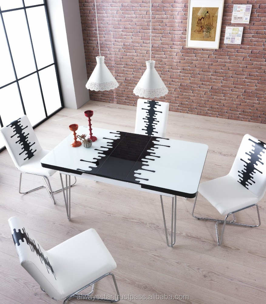 Space-saving White tempered glass modern dining table and chair set , home furniture
